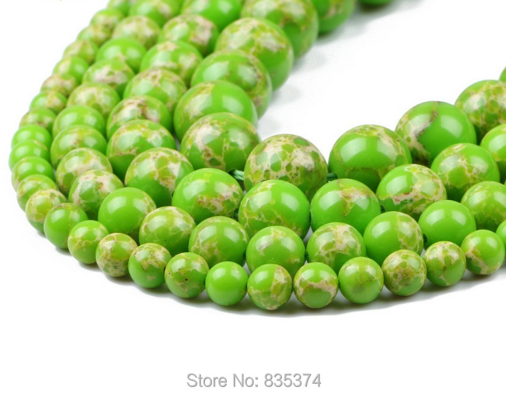 Free Shipping 16 Natural Stone light green Sea Sediment Imperial Round Loose Beads 4 12mm Pick Size For Jewelry
