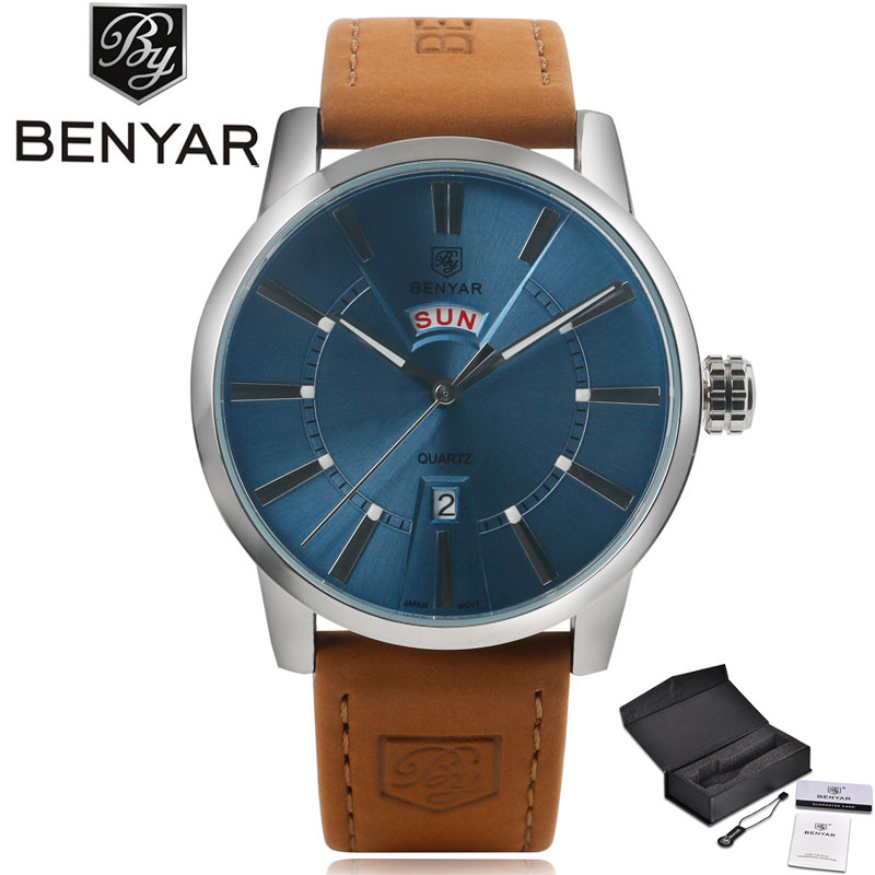 BENYAR Top Brand Fashion Cool Blue Day & Date Design Dial Men's Quartz Wristwatch Genuine Leather Band Business Male Watch Gift simple minimalism casual men quartz wristwatch number dial genuine leather band cost effective natural wooden design male watch