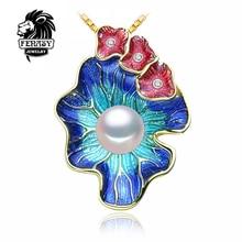 FENASY Joyería de Perlas flores colgante, Collar de Perlas naturales Genuinos, Perla colgante Gargantilla Mujeres 2017 nuevo colgante Del Esmalte Del cloisonne