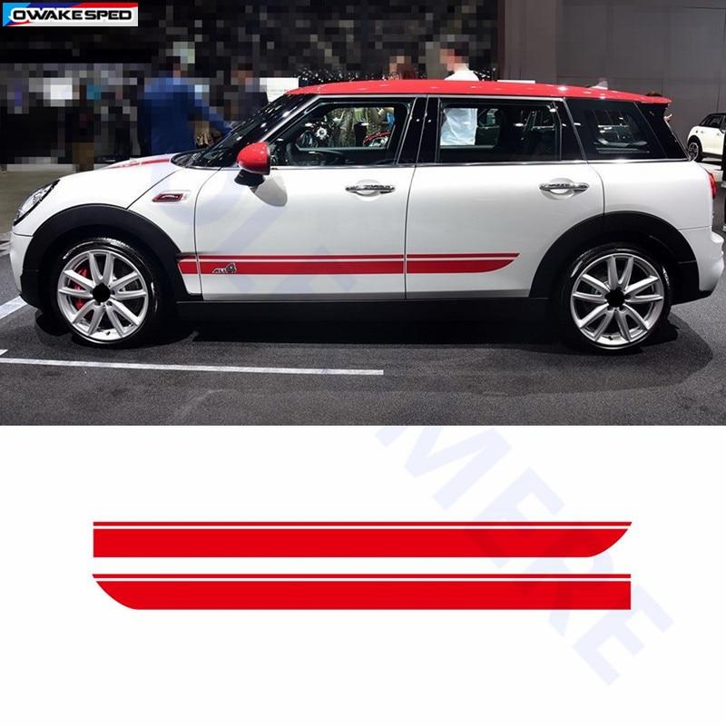 Для BMW MINI CooperS F55 F56 F54 R55 наклейки для боковой юбки автомобиля Аксессуары для кузова подходят на 3-5 дверей Спортивные полосы наклейки