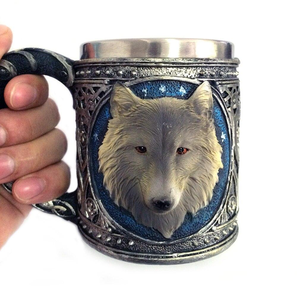Resin 3D Wolf Mug Tankard Striking Skull Warrior Tankard Viking Skull Beer Mug Gothic Helmet Drinkware