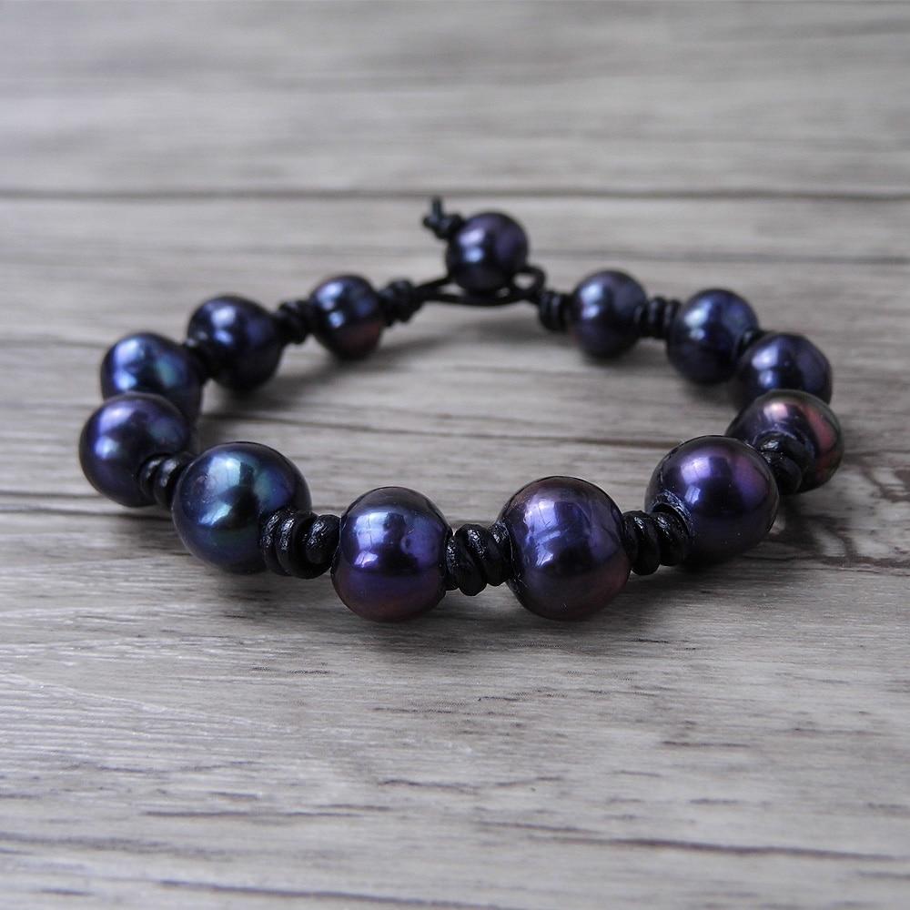 balck pearl beads ձեռնաշղթա Կաշի Boho փաթաթել - Նորաձև զարդեր - Լուսանկար 1