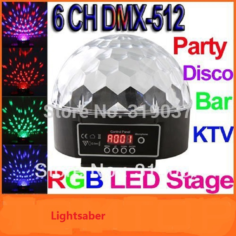 6 Channel DMX512 Control Digital LED RGB Crystal Magic Ball Effect Light DMX Disco DJ Stage Lighting Free Shipping 5w rgb crystal magic ball effect stage light voice control party disco club