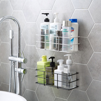 Punch free bathroom shelf wash rack Wall mounted bathroom shelf cosmetics storage rack Storage Holders & Racks    -