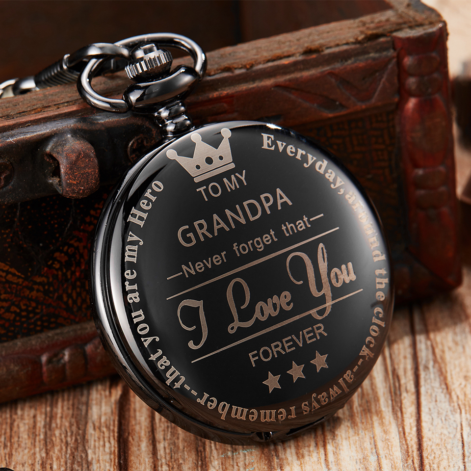 To My Grandpa Pocket Watch I LOVE YOU FOREVER Laser Engraved Fob Chain Necklace Flip Watches Grandfather Birthday Gift Clock