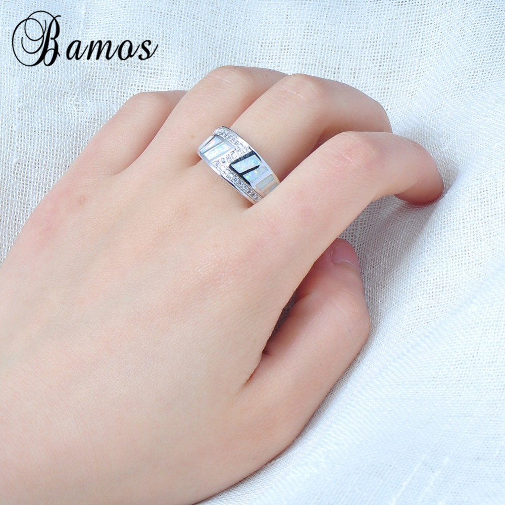 Bamos Gorgeous White Fire Opal Rings For Women Men White Gold Filled ...