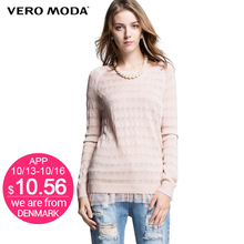 VERO MODA  с длинным рукавом модные женские выдалбливают удобная повседневная вязаный свитер с кружево дамы пуловеры 314324036