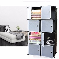 8 Lattice DIY Assembled Wardrobe Simple Wardrobe Hanging Clothes Storage Cabinet Baby Wardrobe Home Furniture