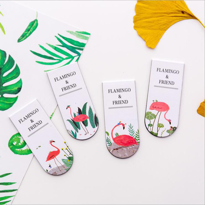 1pc Kawaii Flamingo Magnet Bookmark Multifunction Hand Account Classification Bookmarks Children Gifts Office Stationery