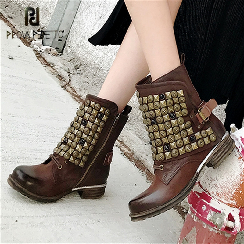 Prova Perfetto Punk Style Ankle Boots for Women Autumn Winter Short Booties Female Martin Boot Rivets Rubber Botas Mujer стоимость