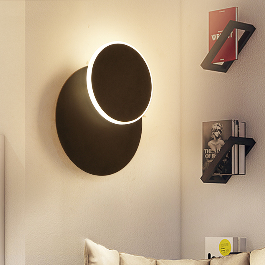 25CM Nordic Simple Eclipse Rotatable LED Wall Lamp Bedside Study Hotel Aisle Restaurant Cafe creative Personality LED Wall Light|Wall Lamps| |  - title=