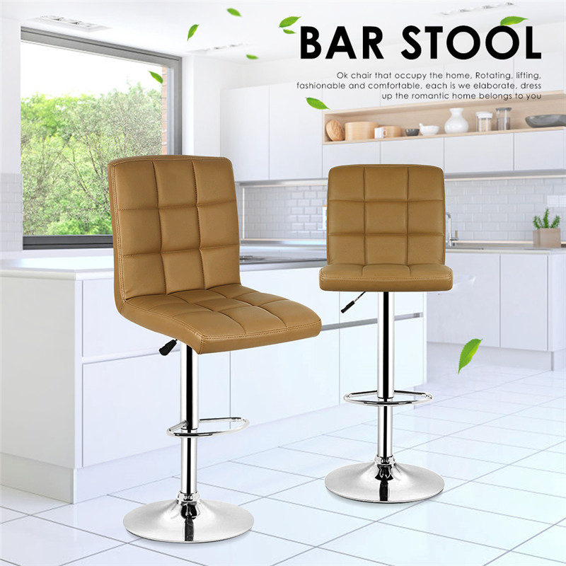 2PCS Pair Home PU Leather Adjustable Bar chairs Modern style Swivel Barstools Kitchen Coffee Chair Table