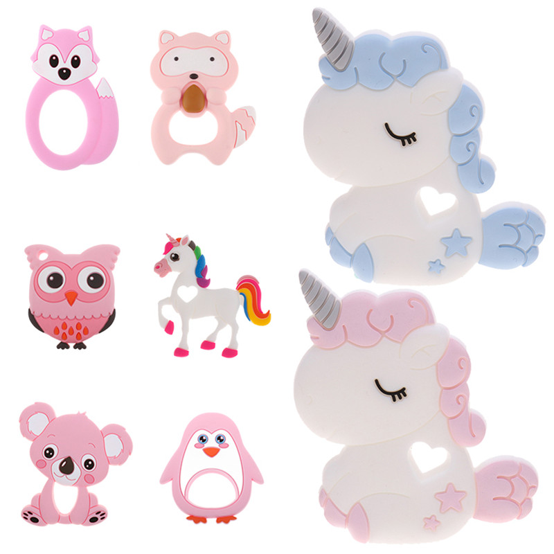 Unicorn Silicone Baby Teether Cartoon Animal Mordedor BPA Free Rodents Teething Necklace DIY Shower Gifts Koala Penguin Owl Fox