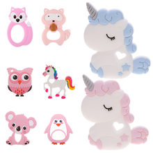 Unicorn Silicone Baby Teether Cartoon Animal Mordedor BPA Free Rodents Teething Necklace DIY Shower Gifts Koala Penguin Owl Fox(China)