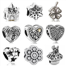 Btuamb Simple Style Love Heart Flower Star Dog Lion Alloy Beads Fit Pandora Charm Bangles for Women DIY Making Jewelry Berloque(China)