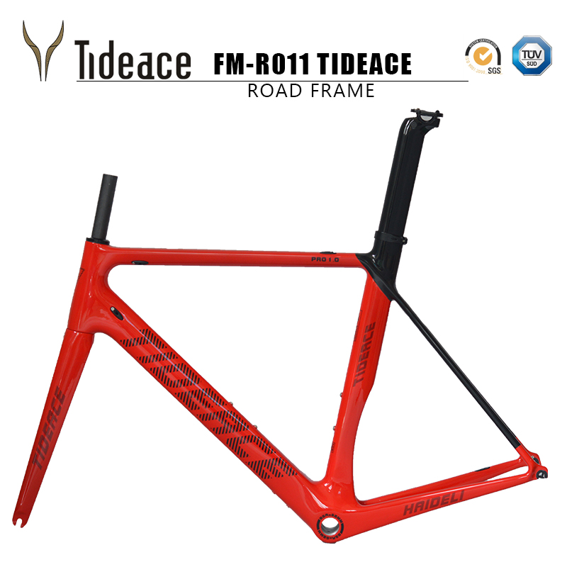 2017 tideace carbon frame bicycle Carbon Aero Road Bike Frame road bike carbon frame For Road Bike can be customized track frame fixed gear frame bsa carbon 1 1 2to 1 1 8 bike frameset with fork seatpost road carbon frames fixed gear frameset