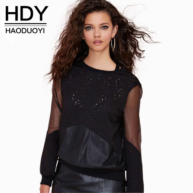 HDY PU hollow out sweatshirt embroidery mesh insert ribbing women sweatshirt for wholesale and free shipping haoduoyi
