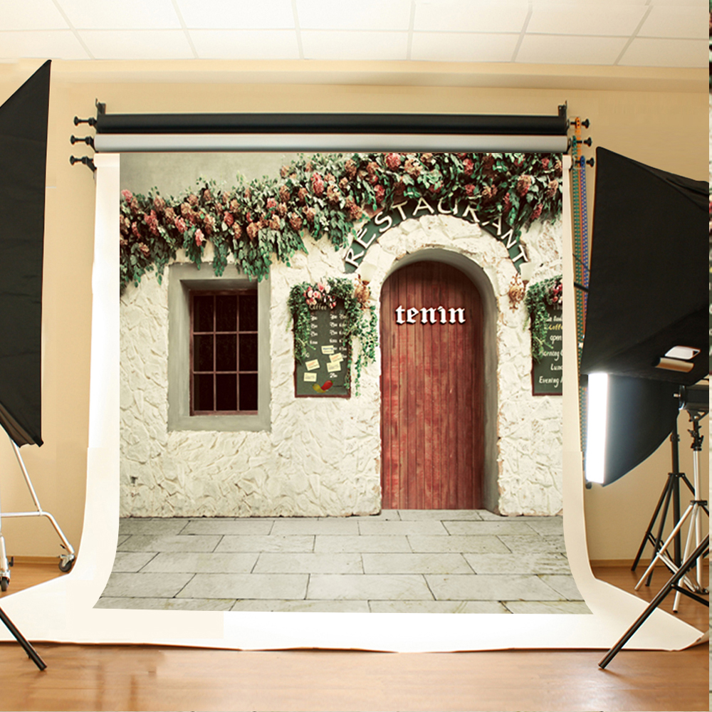 Wedding Photo Backdrops Flowers Green Leaves Art Background Photo Gray Stone Brick Floor Background for Photography Studio