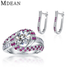 Mdean Ruby Jewelry Sets CZ Diamond Genuine 925 Sterling Silver Hoop Earrings/Rings for Women Sterling-Silver-Jewelry MSJ006
