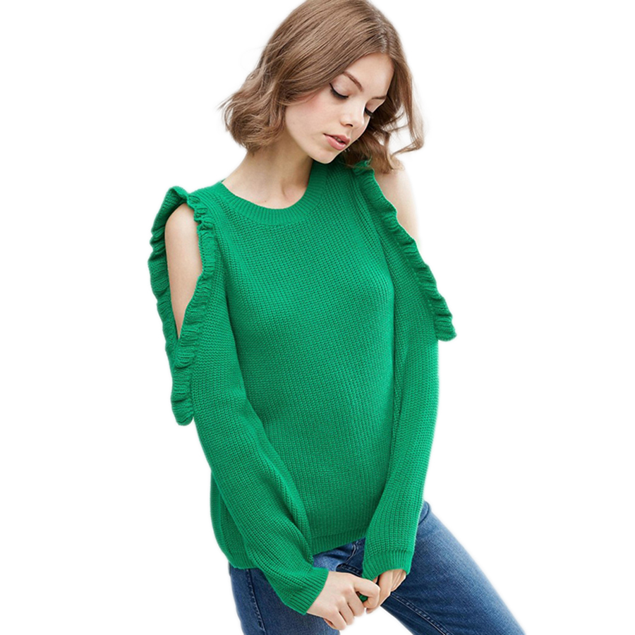 Strapless Knitted Sweater Green Long Sleeve Sweater Off Shoulder Christmas Sweaters Family Kleider Damen Pullover Mujer P6C1037