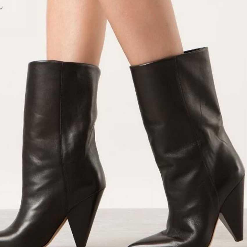 2018 ฤดูใบไม้ร่วง winte ผู้หญิงรองเท้าบูทอบอุ่นสีดำหนังข้อเท้ารองเท้าผู้หญิง pointed toe รองเท้าส้นสูงรองเท้าผู้หญิงหิมะรองเท้า