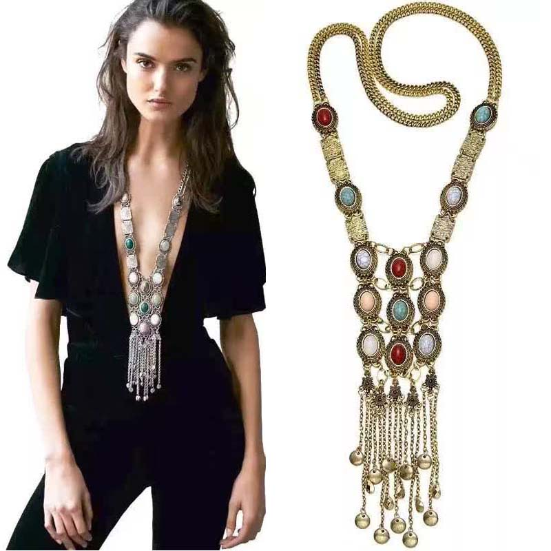 2016 Bohemia Women Chic Maxi Necklaces Fashion Vintage Long Chains Tassel Pendan