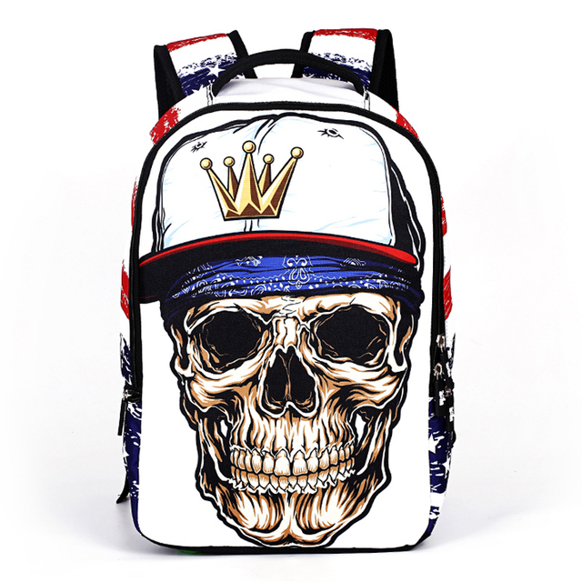 772f5322ca93 2016 New Design Fashion Skull Backpacks For Teenage Boys Girls Personality Children  School Bag Travel Leisure Bags 5Colo