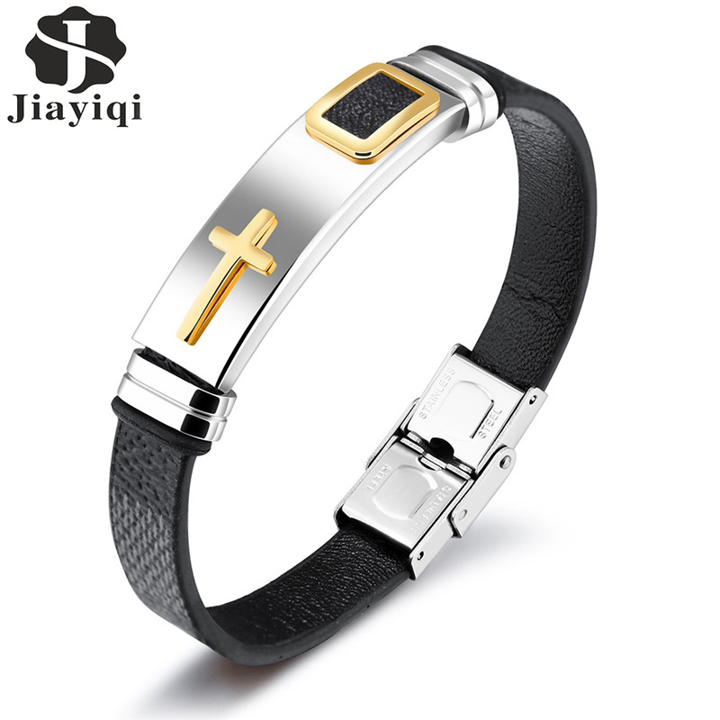 Jiayiqi Fashion Gold Cross Bracelet Black/Brown Leather Bracelets Stainless Steel Bracelets for Men Jewelry Punk Gifts Wristband opk punk cross bracelet for men length 16 5 21 cm mesh strap band stainless steel black gold color male wrap bracelets gh878