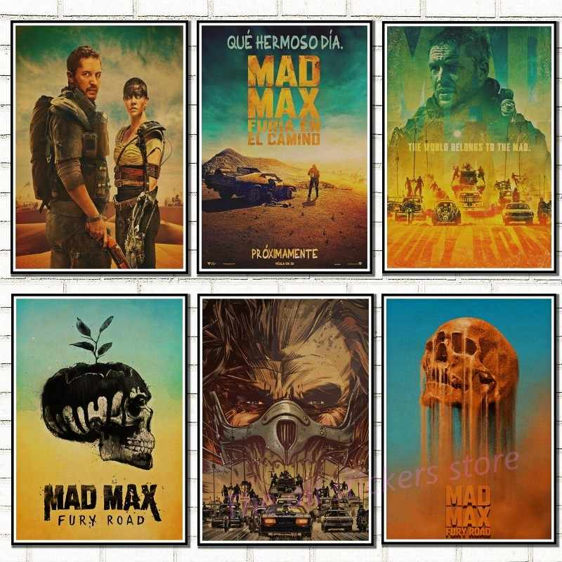 Vintage Poster Mad max Fury road Tom Hardy Charlize Theron Movie Poster poster retro kraft paper sticker retro poster