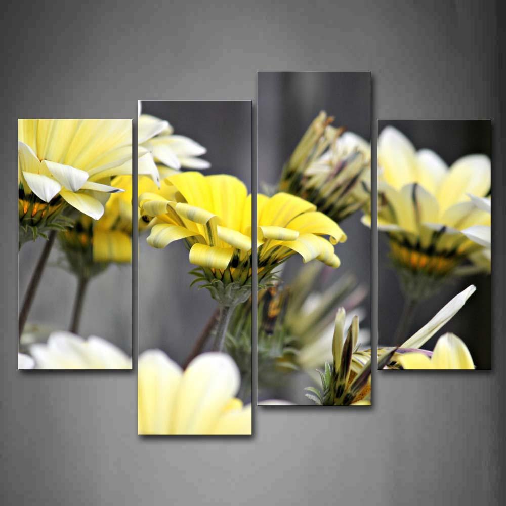 Encadrée mur Art photos fleurs jaune toile imprimer fleur moderne affiches avec des cadres en bois pour la maison salon décor