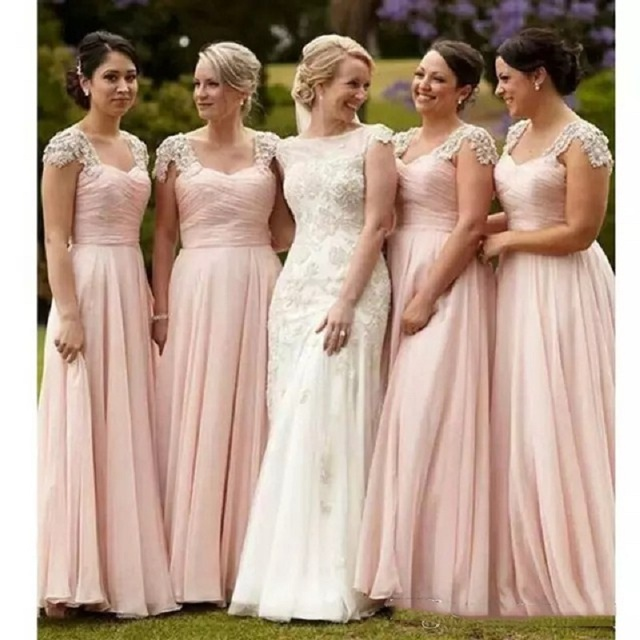 2017 Hot Blush Pink Bridesmaid Dresses A Line Off Shoulders Beaded Crystals Cap Sleeves Floor Length