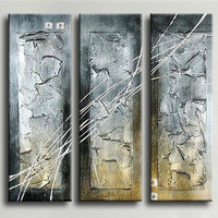 Large Handpainted Abstract Lines Oil Painting On Canvas Lienzos Cuadros Decorativos Peinture 3 Panel Wall Paintings