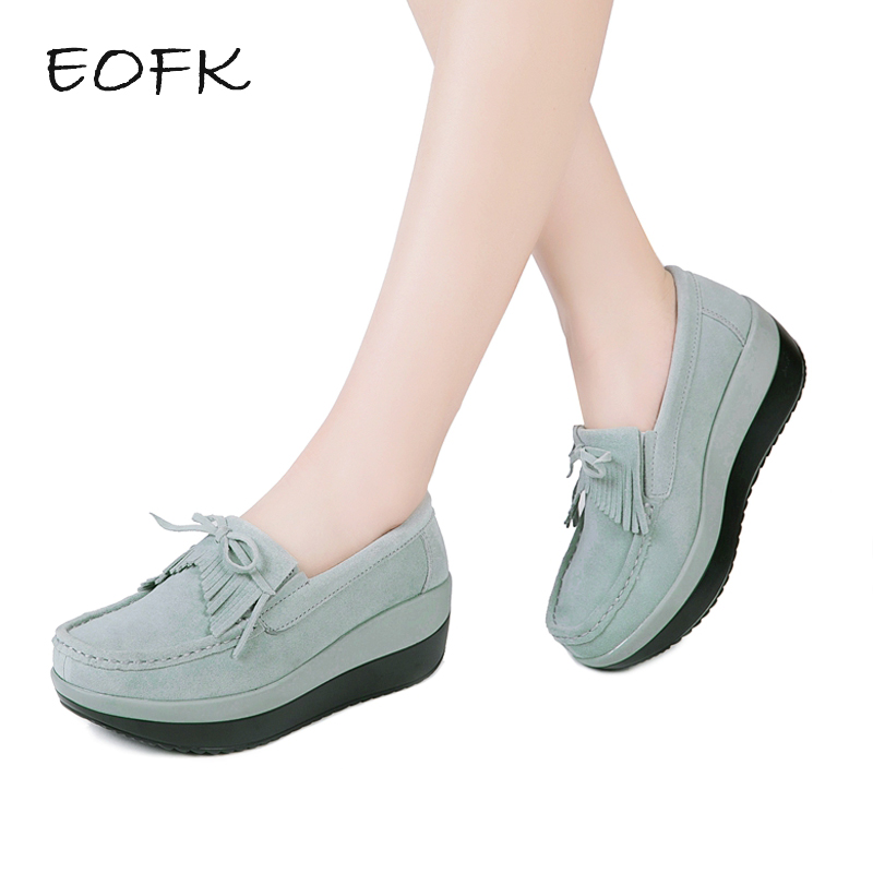 EOFK Women Loafers Ladies Casual Elegant Suede Moccasins Fringe Shoes Woman Slip On Tassel Moccasin Women's Flat Platform Shoes new suede leather women shoes loafers slip on sewing driving flats tassel woman breathable moccasins blue ladies boat flat shoes