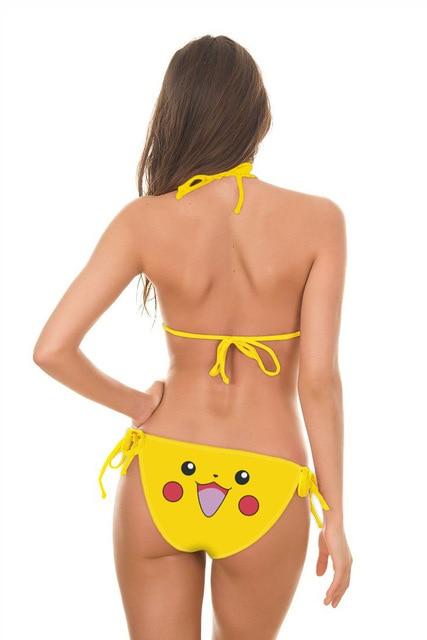 2 arten Sexy Spiel Pokeball Squirtle Pikachu Jigglypuff Druck Cosplay Kostüm Zwei Stück Bademode Badeanzug Blau Gelb Bikini