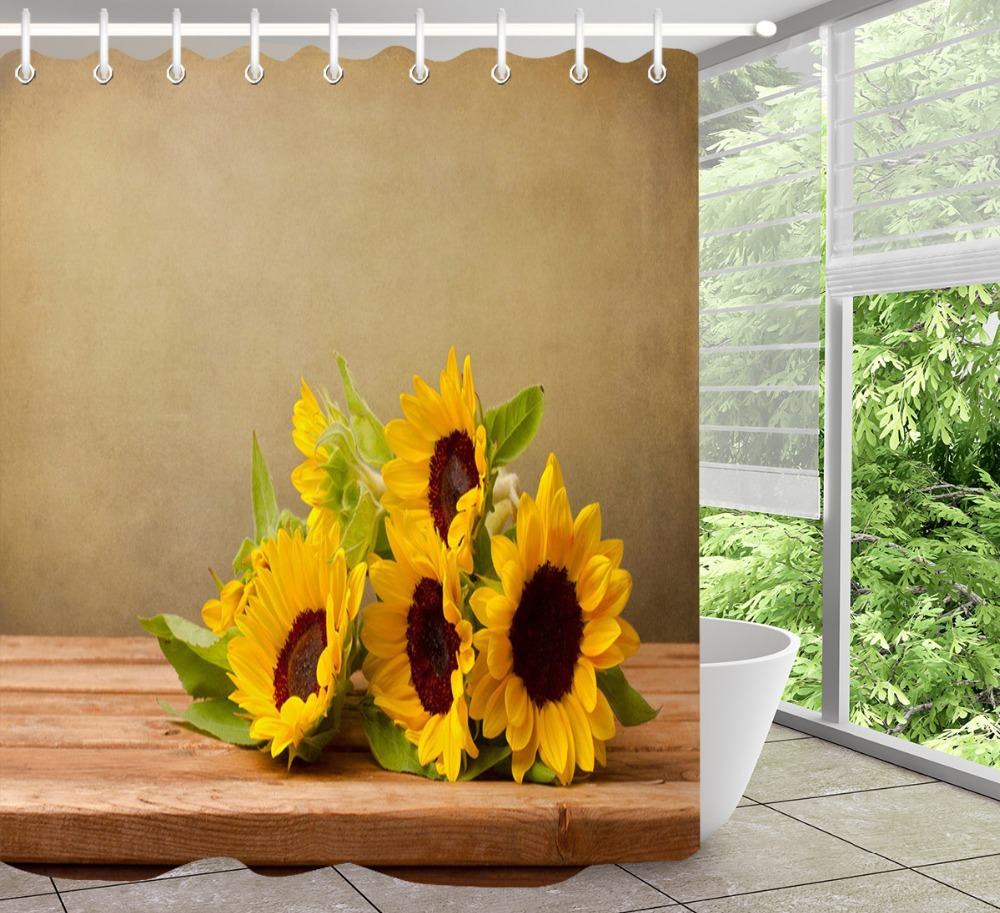 Bathroom Polyester Fabric Shower Curtain Set Rustic Retro Wood Board Sunflowers