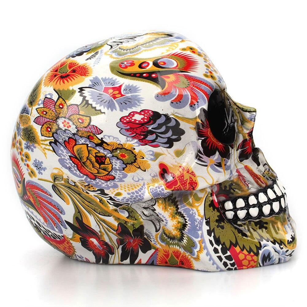 Horror calavera decoración resina esqueleto humano calavera Color flor pintura Halloween casa Bar mesa escritorio decoración artesanía regalo 4