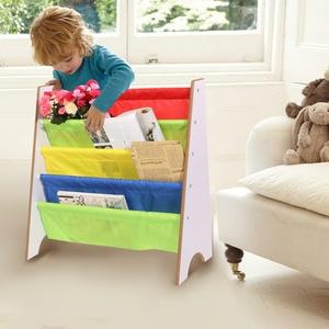 Image 1 - 4 niveaux bois chaussures support étagères support stockage maison organisateur multi couleur poche étagère enfants meubles bibliothèque