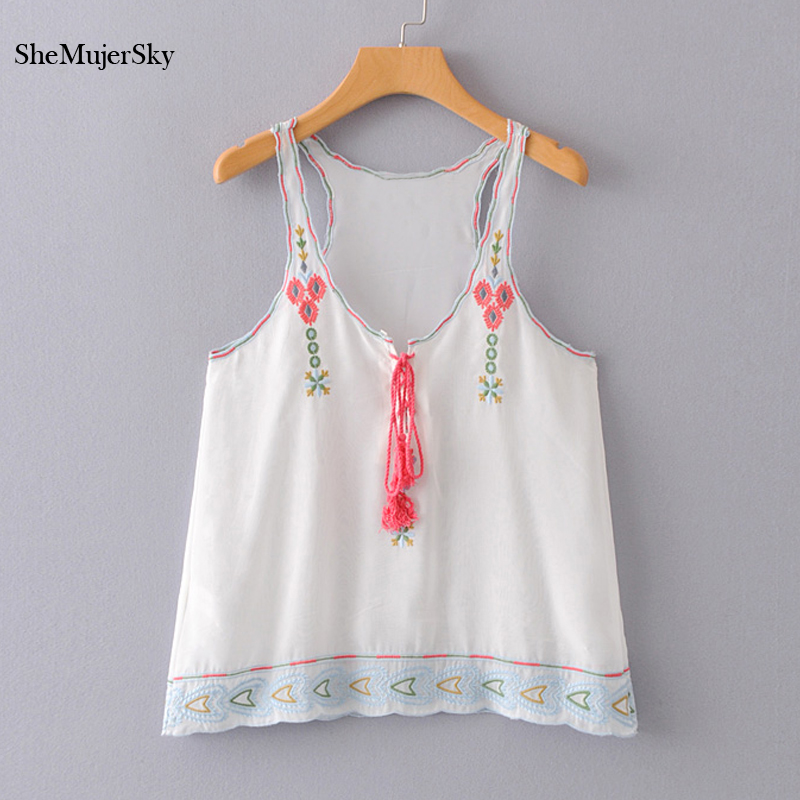 SheMujerSky White Tank Top women Embroidery Floral 2018 Summer Loose Camisole Cotton Vest Strappy Bralette