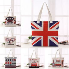 New British National Flag London Bus Big Ben Pattern Cotton Linen Bag Women Shopping Fashion Bag Large Capacity Storage Bag printio british flag bus