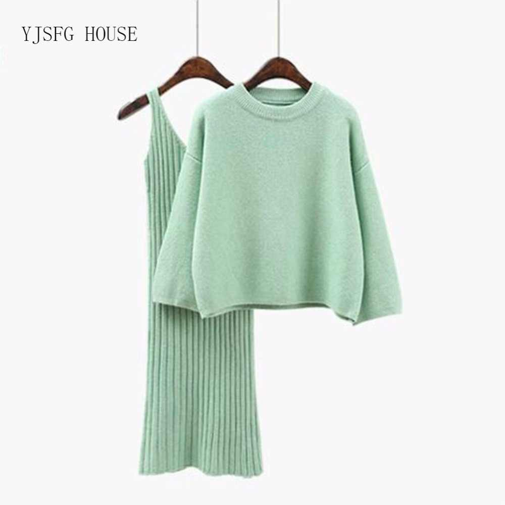 2Pcs Women'S Knit Suit Dress Pullover Flare Sleeve O-Neck 2018 New Fashion Chic Soft Long Sleeve Winter Warm Sweaters hot Dress