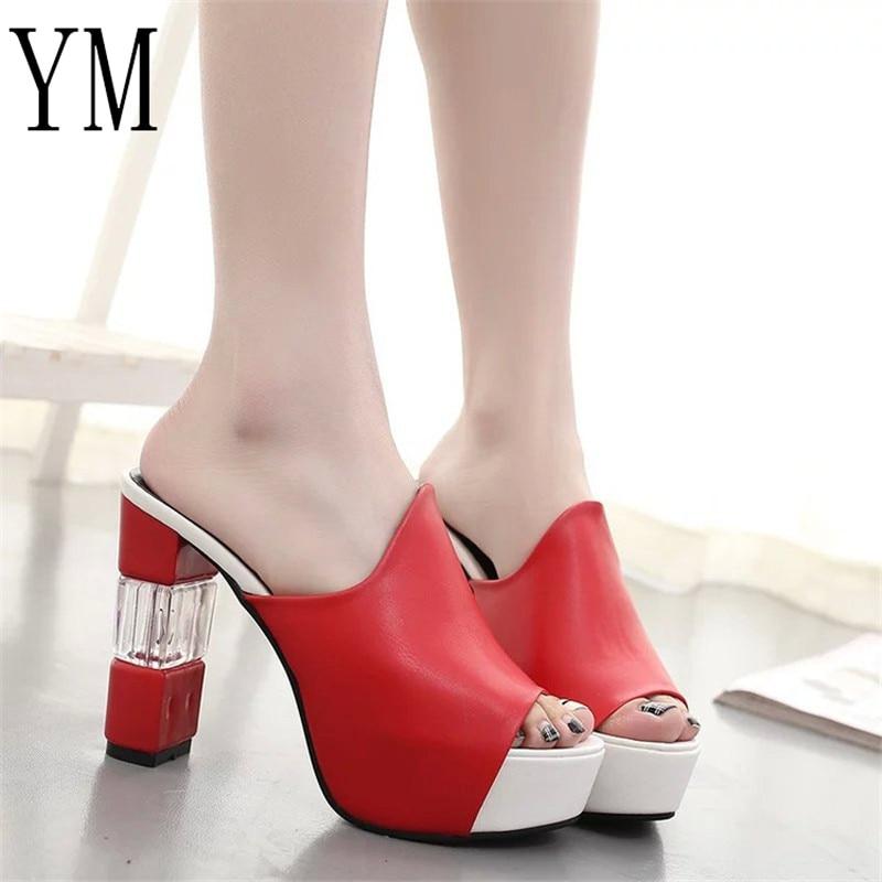Mujeres Negro 40 Moda 018 Rojo Chunky Zapatos De Señora blanco Talón Elegante Tacón rojo Sexy Plataforma Peep Verano Toe Cristal Sandalias Grueso qAHnwUEx4A