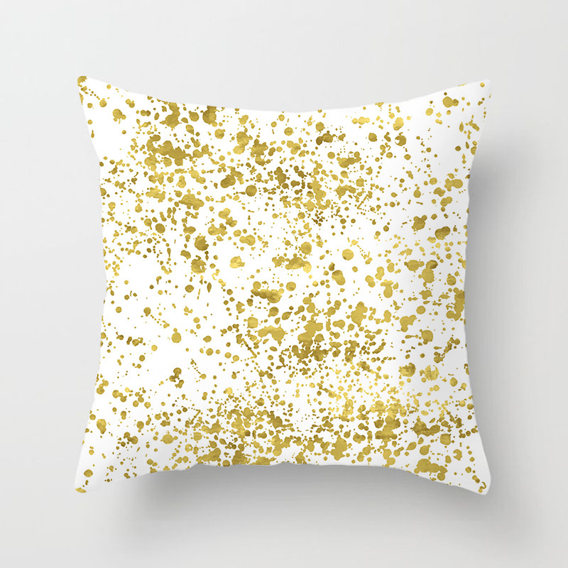 Fuwatacchi Gold Flower Printed Cushion Cover for Sofa Chair Bedroom Decor Square Linen Pillowcase Feather Leaves Pillow Cover