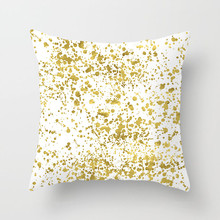 Fuwatacchi Gold Flower Printed Cushion Cover for Sofa Chair Bedroom Decor Square Linen Pillowcase Feather Leaves Pillow Cover fuwatacchi floral cushion cover feather leaves gold pillow cover for decor sofa chair square decorative pillowcases