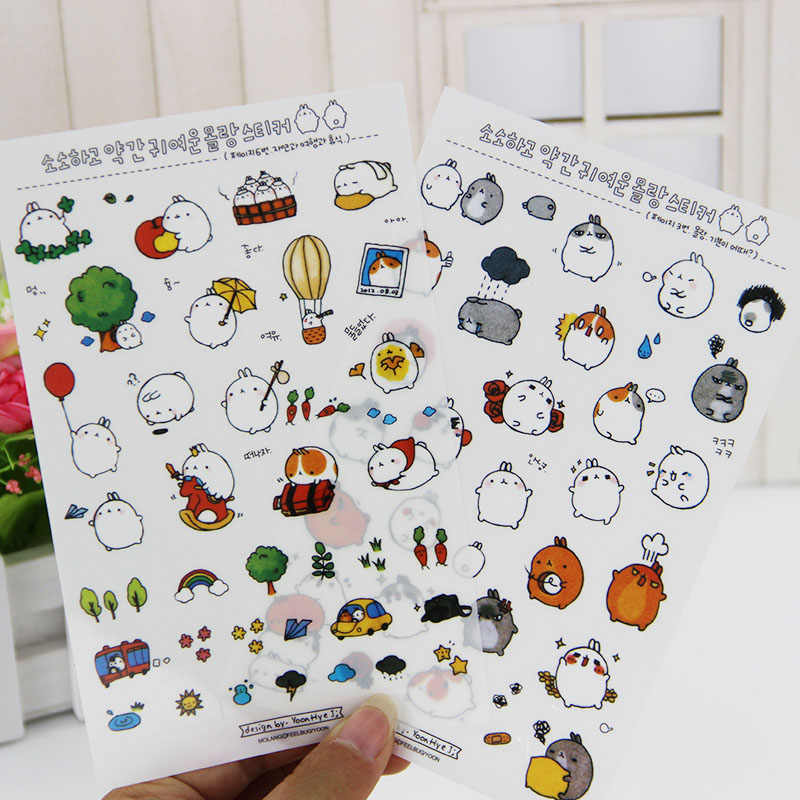6 Sheets/lot DIY Kawaii Cartoon Meng Rabbit PVC Paper Stickers For Kids Gift Scrapbooking Stationery