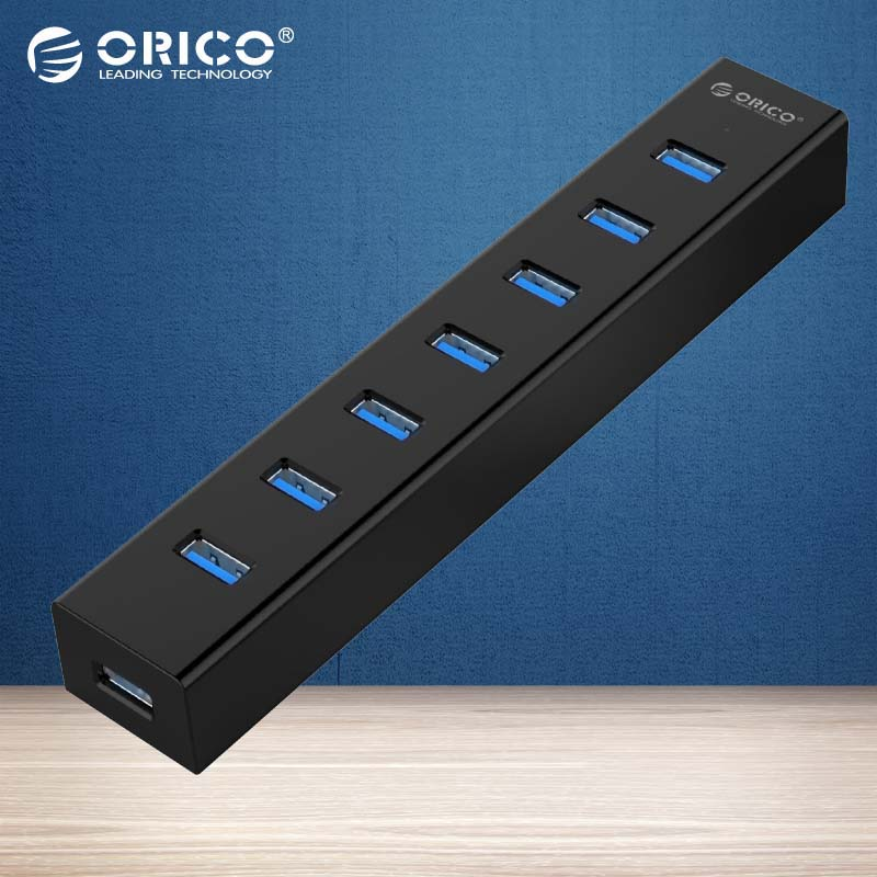 ORICO H7013-U3 Super Speed ABS USB 3.0 7 Ports HUB (without power adapter)-Black/Red/Blue/White