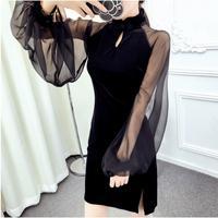 Gotik İnce Elbise Mini Siyah Kılıf Dantel Kollu Kadınlar Için Seksi Net Malzeme Cheongsam Qipao Elbise yapılmış Cadı Goth Mini Elbise