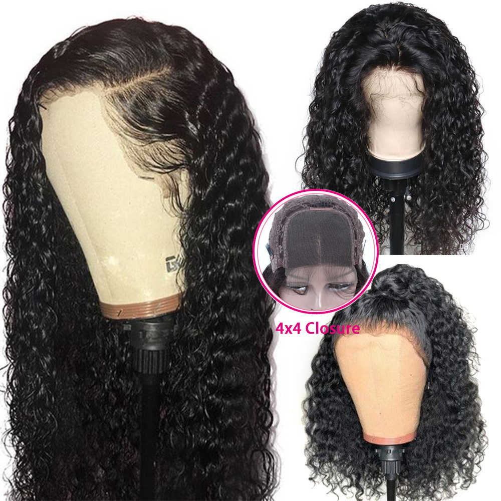 Water Wave 4*4 Lace Closure Human Hair Wigs Brazilian Remy Hair With Baby Hair For Women 150% Density Human Hair Wigs QUEEN HAIR