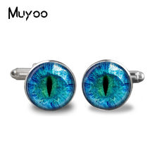 2017 New Blue Dragon Eye Cufflinks Evil Eye Cufflink Silver Plated Glass Photo Cuffs Gifts For Men Handcraft Cuff(China)