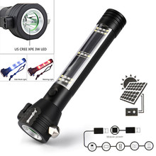 Dropshipping Solar Powered 3W LED Flashlight Safety Hammer Torch Light with Power Bank Magnet 7.20