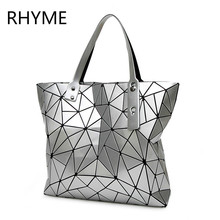 RHYME Fold Diamond Woman Bag Lattice Tote Quiltied Geometry Handbag Ladies Geometric Shoulder Bag